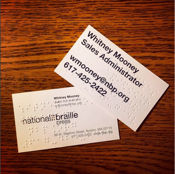 Make A Lasting First Impression With Braille Business Cards National Braille Press Is An Internationall Printing Business Cards Unique Business Cards Business