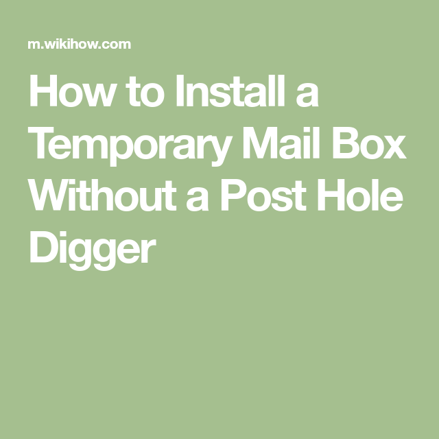 Install a Temporary Mail Box Without a Post Hole Digger | DIY
