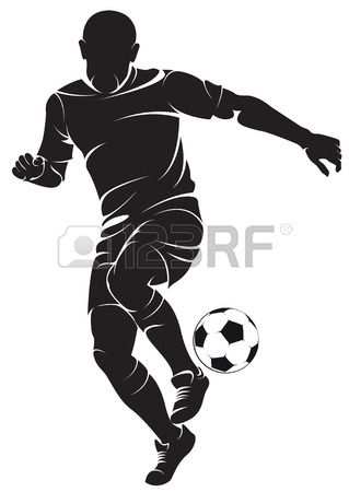 Vector Football Soccer Player Running Silhouette With Ball Silhouette Art Football Players Woodcut Art