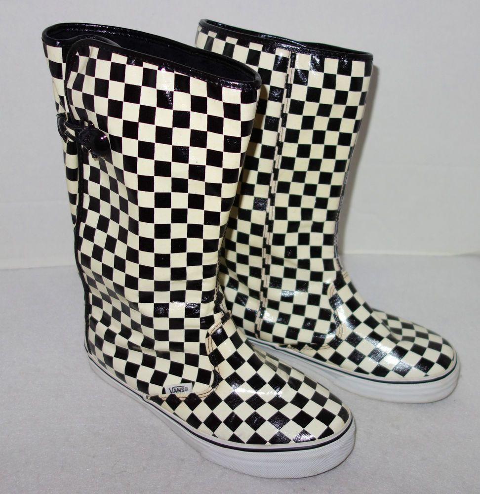 68c9b43252 Women s VANS Black White Checkered Rain Boots - Sz 7.5