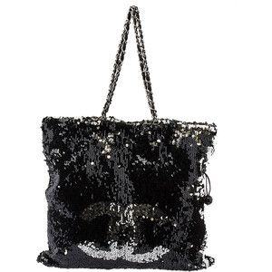 Pre-owned Chanel Summer Night Black & Silver Sequin Tote Bag