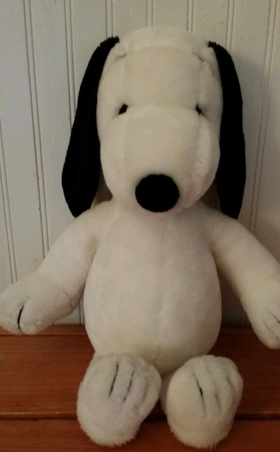 Big 20 Vintage 1968 Korea Black Collar Peanuts Snoopy Plush Stuffed