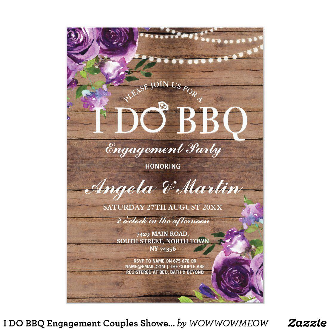 I DO BBQ Engagement Couples Shower Purple Floral