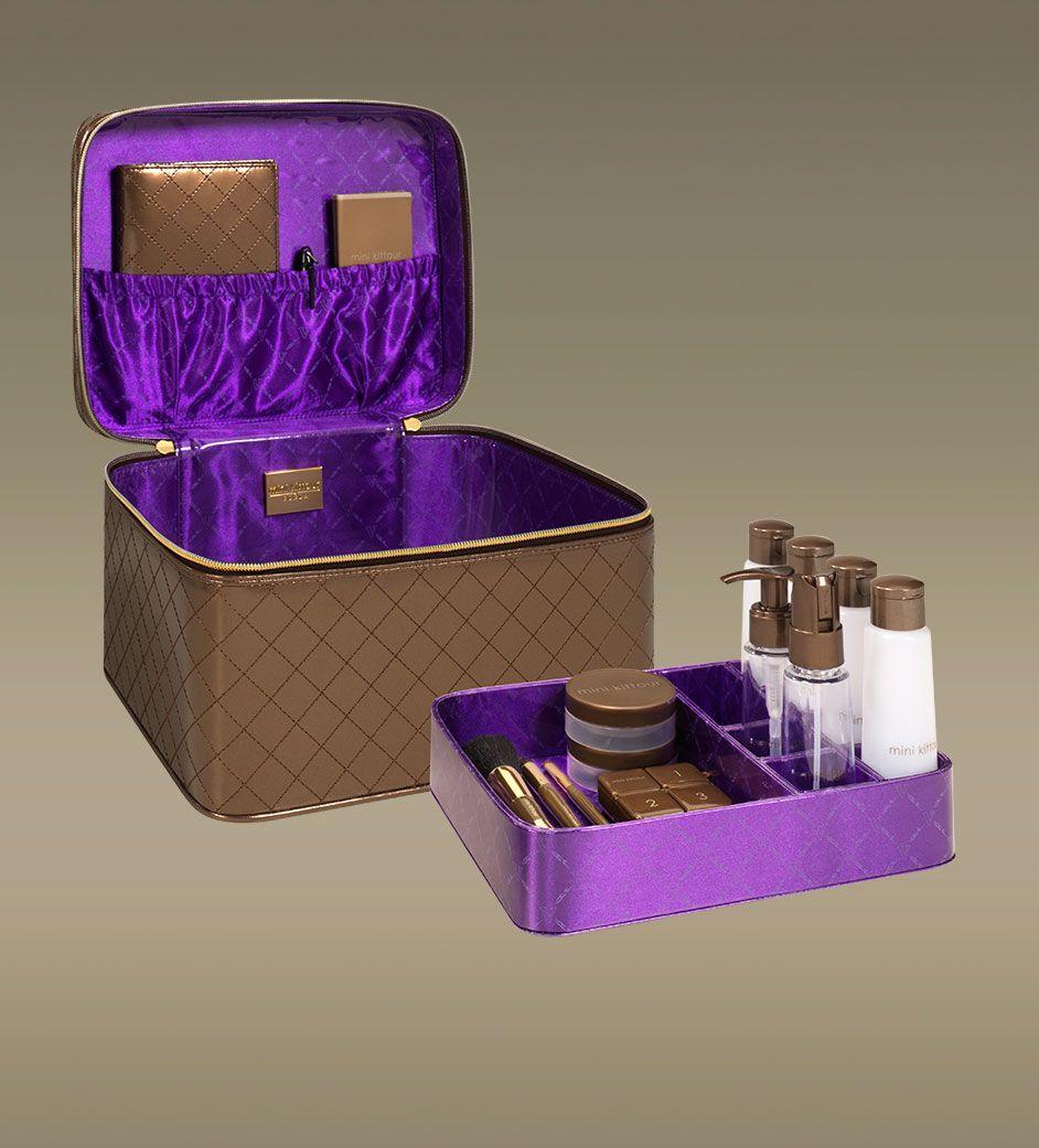 Jet Setter Deluxe Travel Train Case, Chocolate | Mini Kittour - Designer Cosmetics Travel Accessories