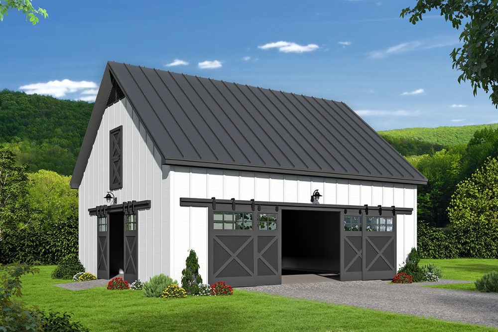 Plan 68690vr Barn Style Garage With Vaulted Loft Above In 2021 Garage Plans With Loft Farmhouse Style House Plans Farmhouse Style House