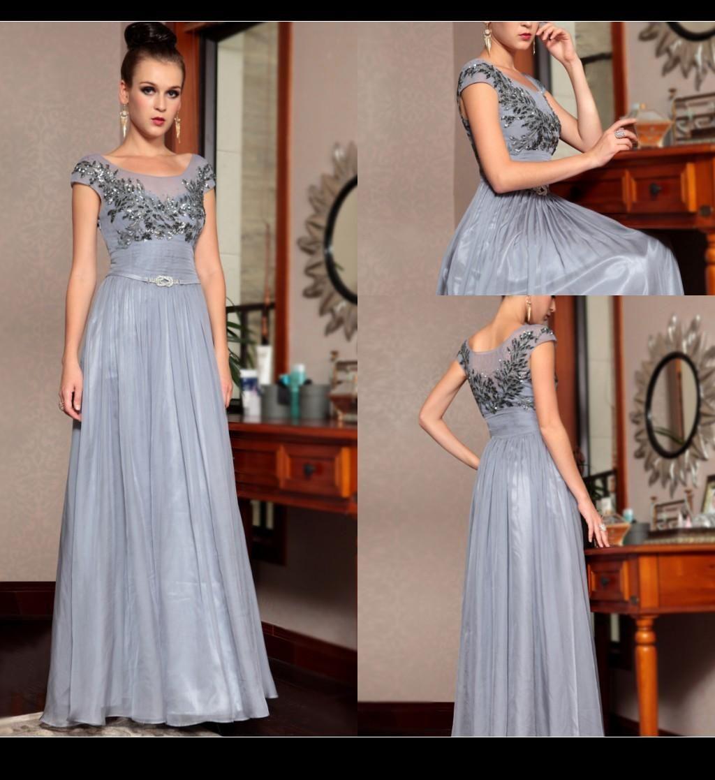 Vintage gray groom motherus dresses scoop sheer lace applique