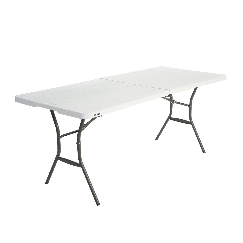 Table de jardin de repas rectangulaire Lifetime blanc 6 personnes ...