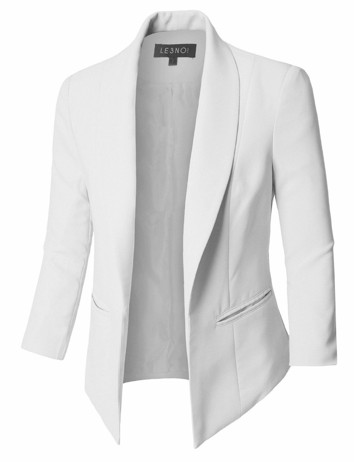 Fully Lined 3/4 Sleeve Open Front Tuxedo Blazer Ja