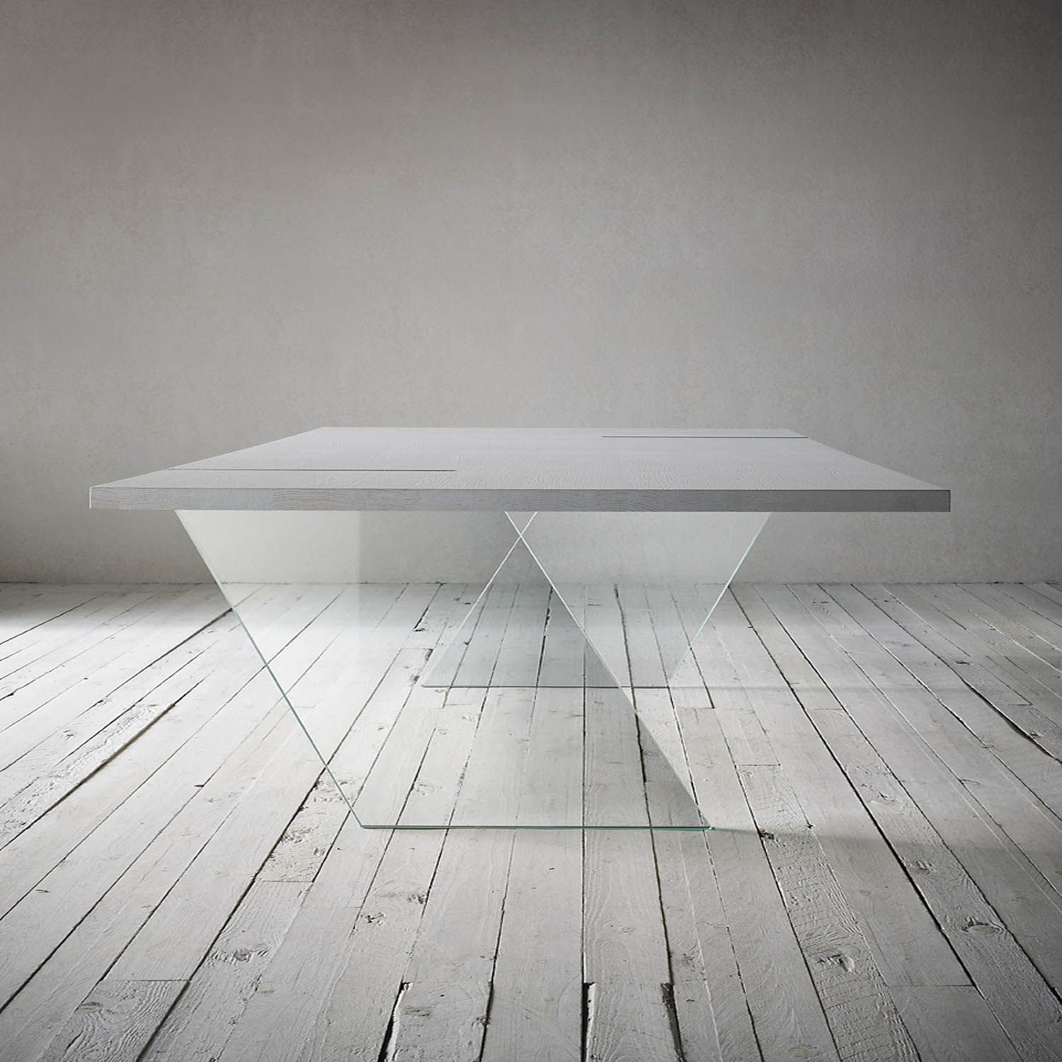 White Lacquered Veneered Blockboard Fixed Table With Clear Glass Gorgeous Italian Glass Dining Room Tables Inspiration