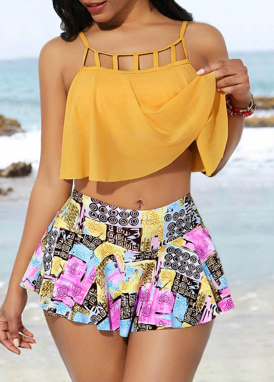 Lattice Front Tankini Top And Pantskirt Inspirational Fashions