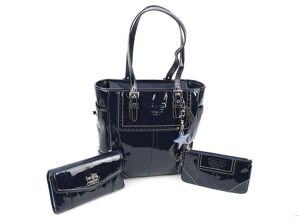 Coach Navy Blue Patent Leather Per Tote Purse Handbag F0773 F11519 Set Totespers