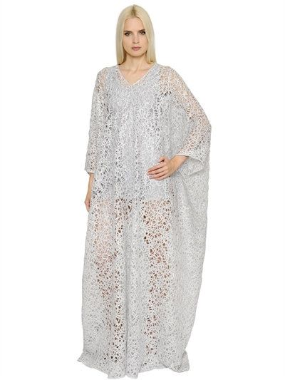 INGIE SHINY SPIRAL LACE LONG CAFTAN DRESS, SILVER. #ingie #cloth #dresses
