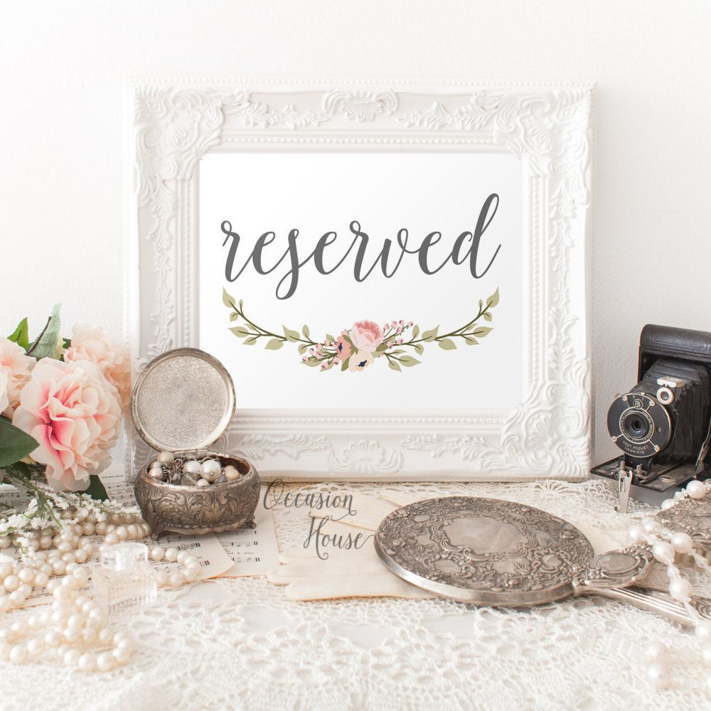 Printable gray reserved sign wedding reserved sign printable