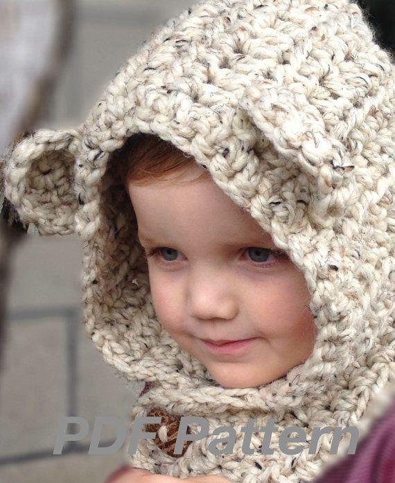 Crochet Pattern Brady Bear Cowl Hoodie Toddler por NonniesKnots