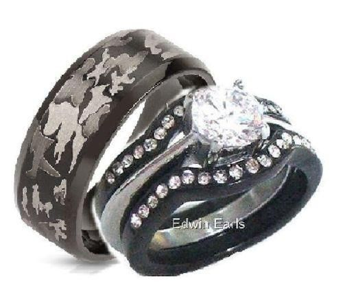 His Hers 4 Piece Cz Black Stainless Steel Black Camouflage Wedding