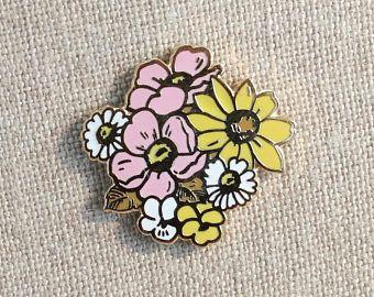 5f31ebf8fd9 Native Wildflower Bouquet + mini zine // Cloisonne Hard Enamel Lapel Pin 1