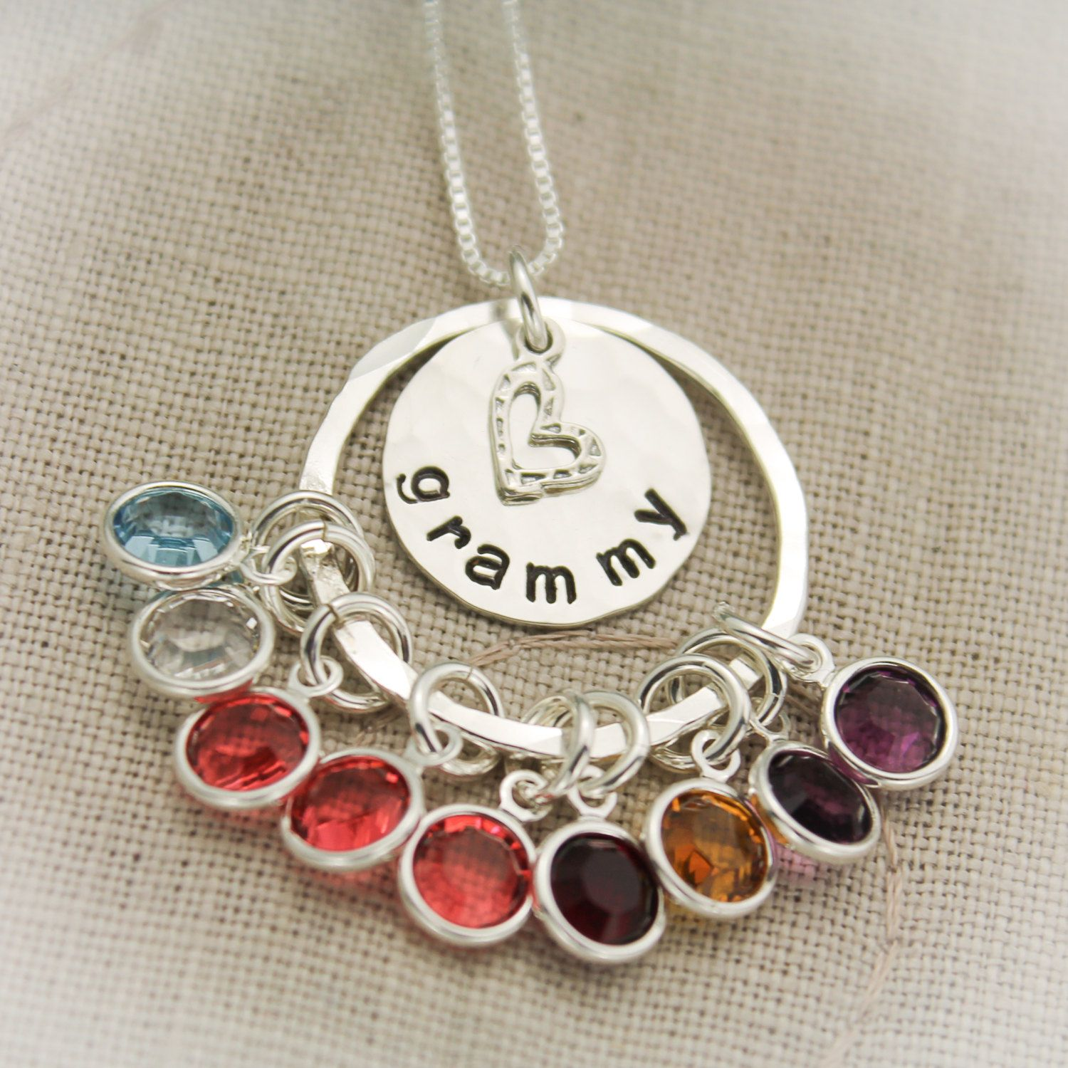Grandma Birthstone Necklace Grandmother Necklace Grandchildren Hand Stamped and Personalized Sterling Silver
