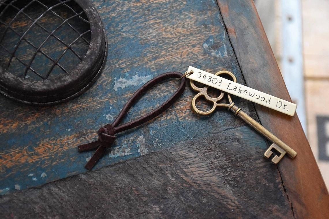 First Home Ornament – Custom Stamped New House Address Skeleton Key – Personalized Housewarming Gift Wedding Tag – Rustic Vintage BRASS OG
