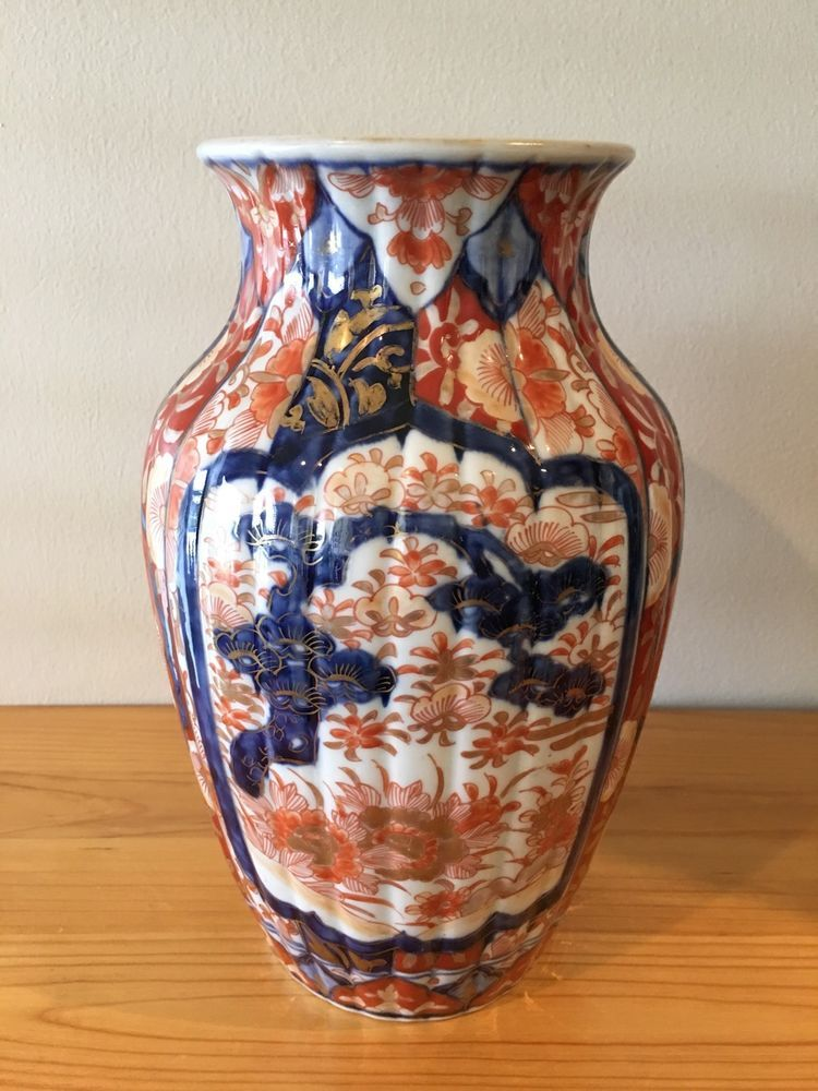 Antique 19th Century Japanese Ribbed Imari Vase Imari Japanese
