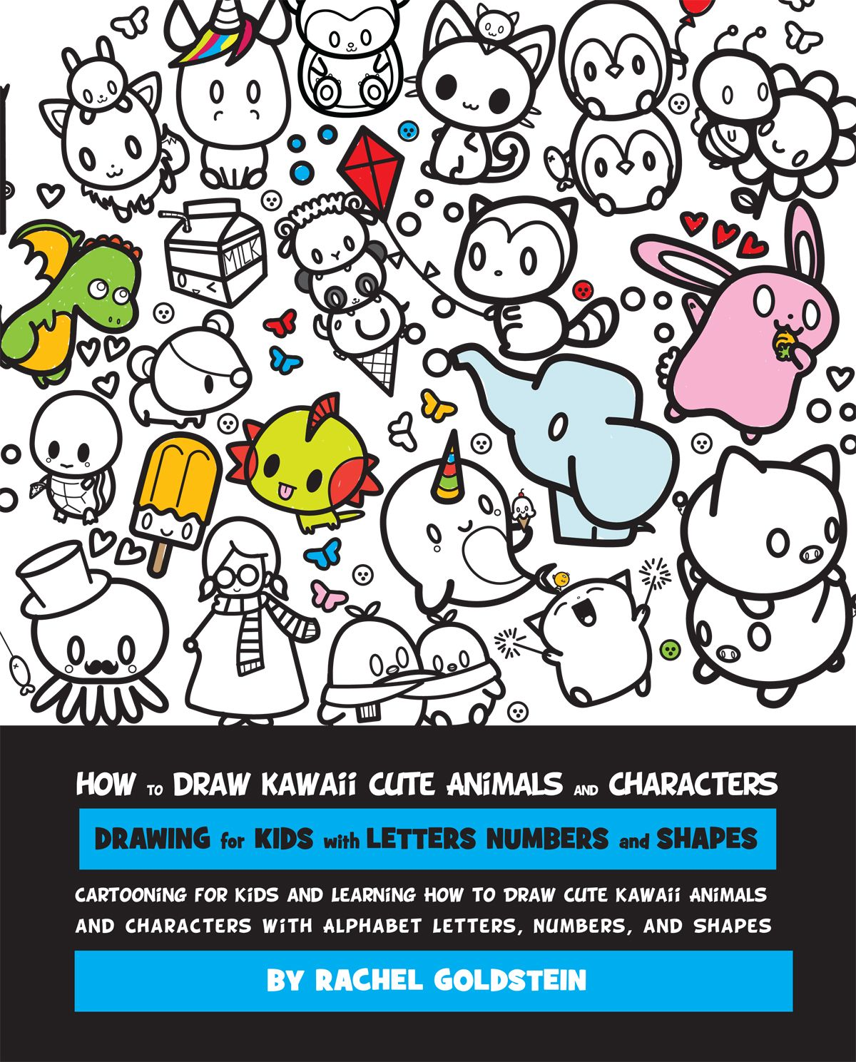how to draw kawaii cute animals and characters drawing for kids with letters numbers and