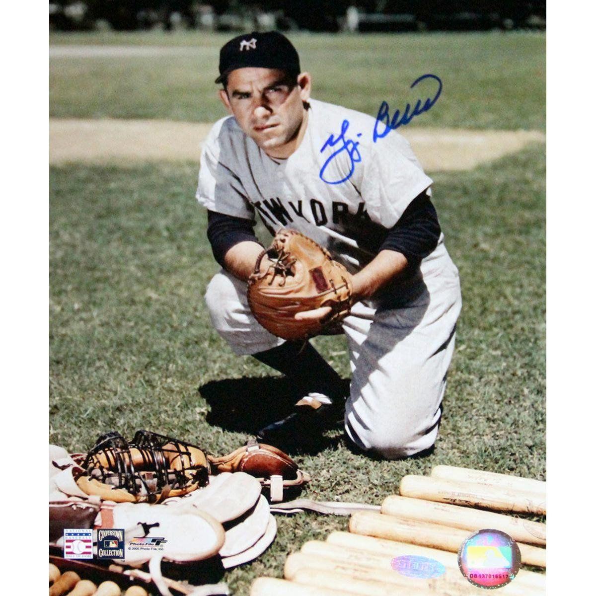 Yogi Berra Signed Kneeling By Equipment Color Vertical 8x10 Photo New York Yankees Yogi Berra Go Yankees