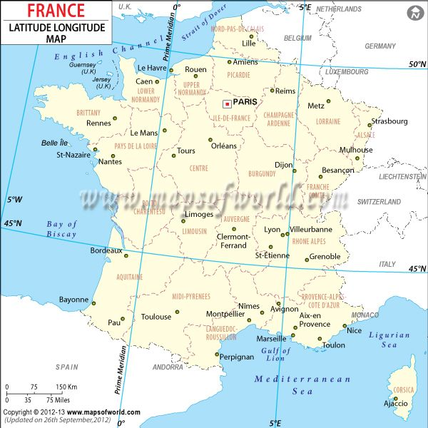Country Map Of France.France Latitude And Longitude Map Country Maps Latitude