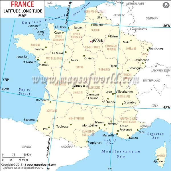 France Latlong Map MOW Pinterest France Lat Long Map And City - Latitude and longitude of france
