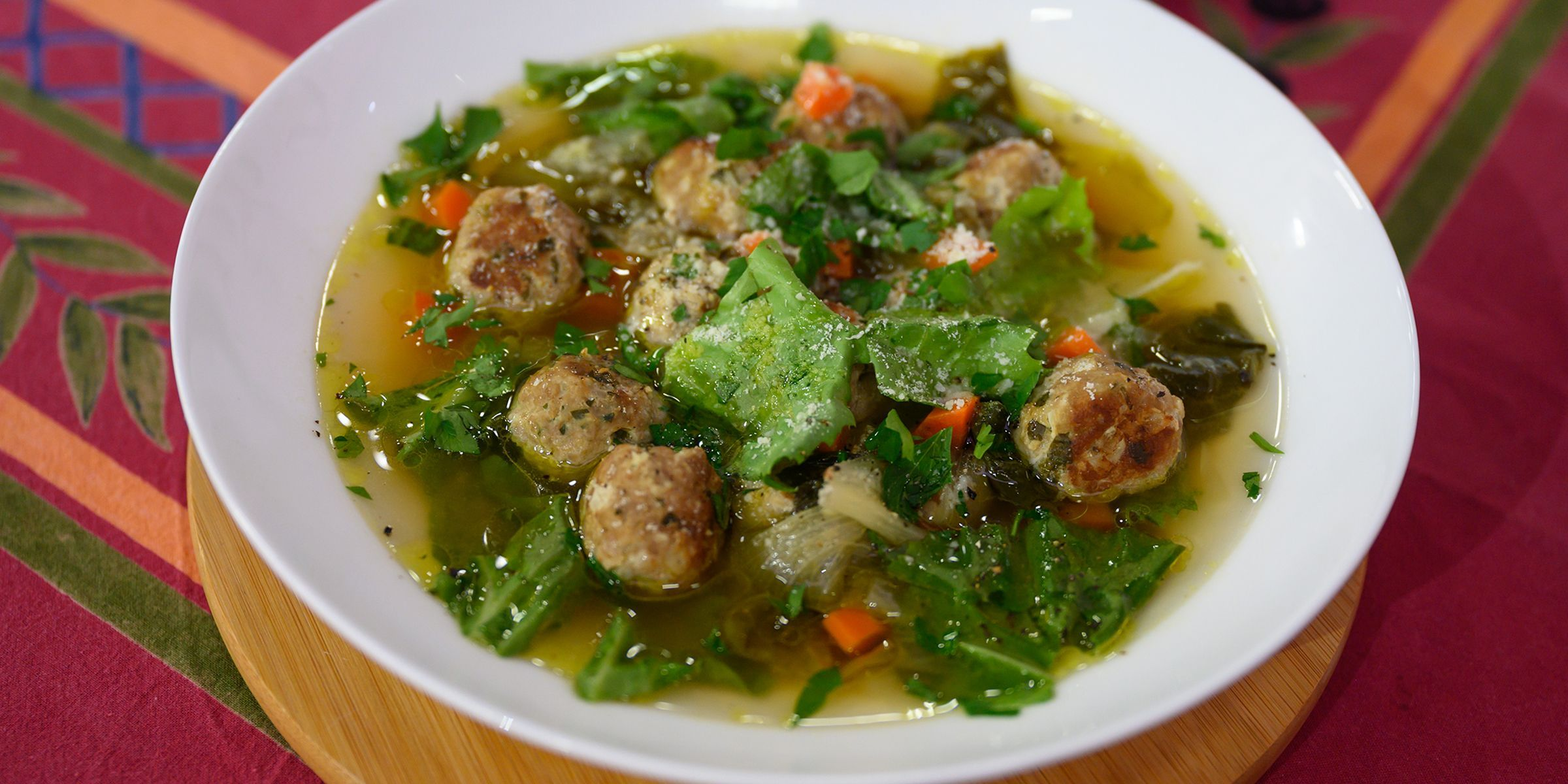 Valerie Bertinelli Leaves Out The Noodles For A Lighter Low Carb Version Of Italian Weddin In 2020 Food Network Recipes Low Carb Meatballs Italian Wedding Soup Recipe