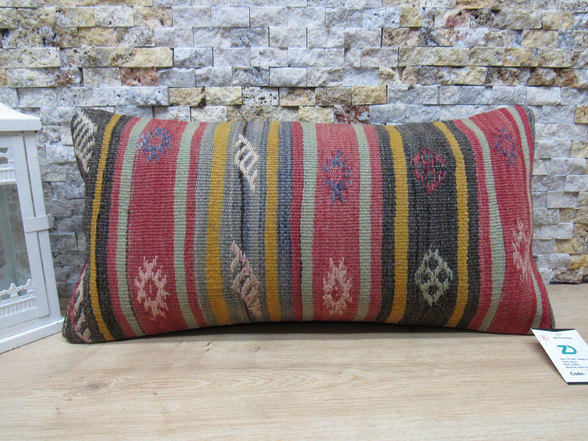 12x24 Kilim Pillow Sofa Throw Pillow Bohemian Kilim Pillow Handwoven Turkish Kilim Pillow Tribal Boho Pillow Cushion Cover Home Decor