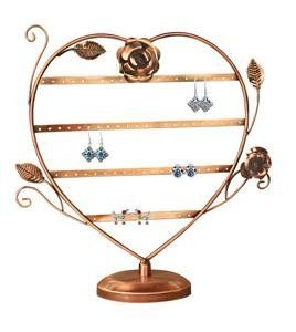 Earring Oraganizer Copper Color Heart-Shaped with Roses Earring Holder Earring Stand Earring Display Earring Tree