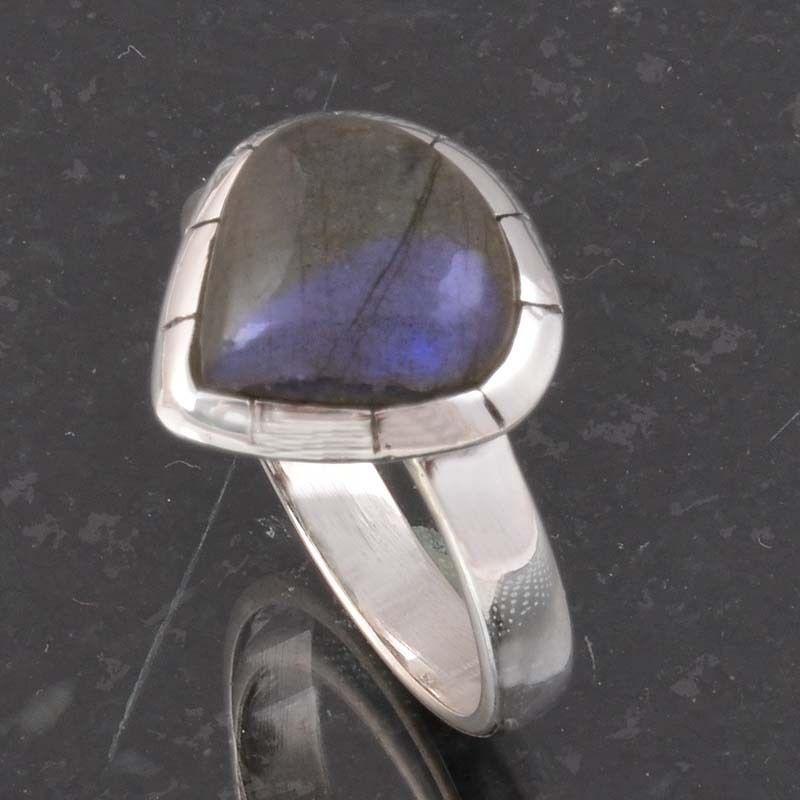 BLUE FIRE LABRADORITE 925 SOLID STERLING SILVER FASHION RING 4.43g DJR6401 #Handmade #Ring