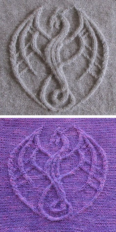 Photo of Knitting Pattern for Cable Dragon -Dragon created from cables, short rows and ot…