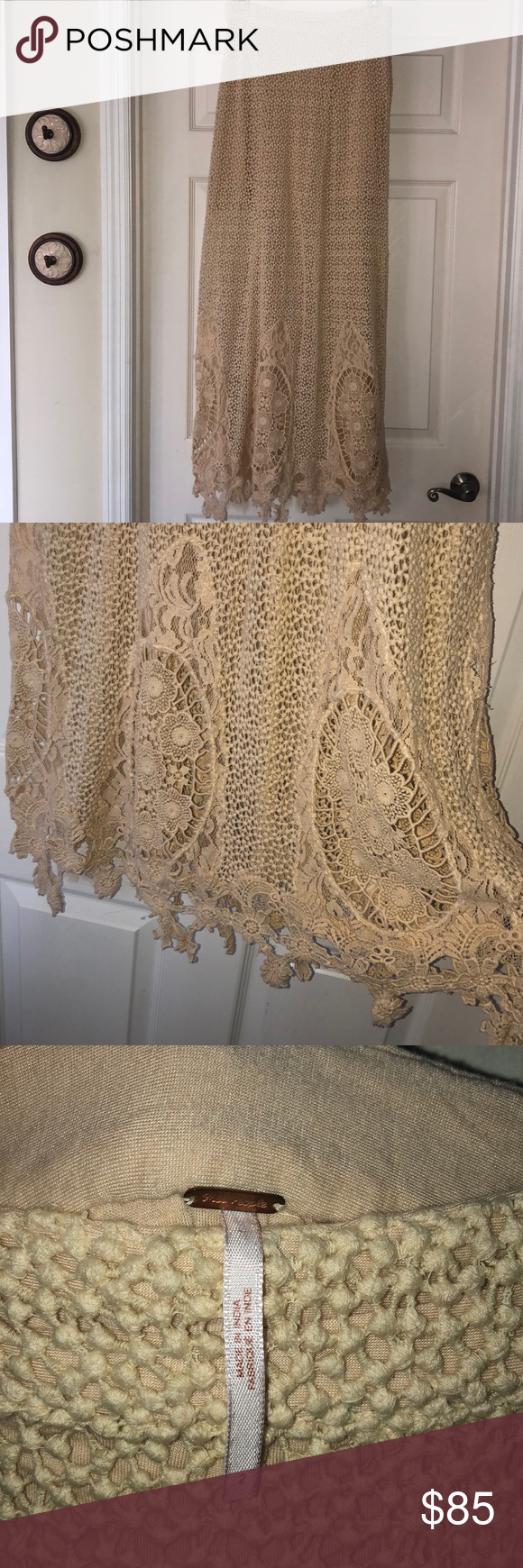 Free People Mi Amore Maxi Skirt Beautiful Free People crochet maxi skirt with gorgeous lace detailing at bottom. A rare FP piece! The ONLY reason I'm selling it is it doesn't fit me anymore. It is STUNNING!! Worn a few times. No major tears, rips or pulls. Cream colored with side zip and half under slip. Free People Skirts Maxi