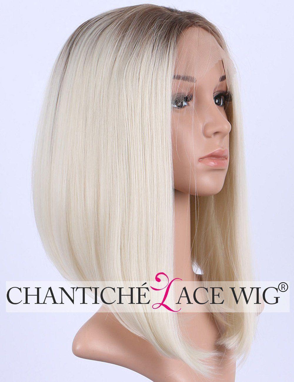 Chantiche Hot Sale Natural Looking Platinum Blonde Short Bob Hair Lace Wigs Fashion Brown Roots Synthetic Lace Fro Long Hair Wigs Lace Wigs Synthetic Lace Wigs