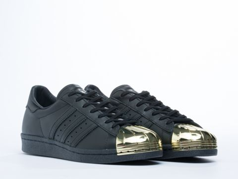 best sneakers 08572 1a0b7 Adidas Originals Superstar 80s Metal Toe Sneakers in Black Gold at  Solestruck.com