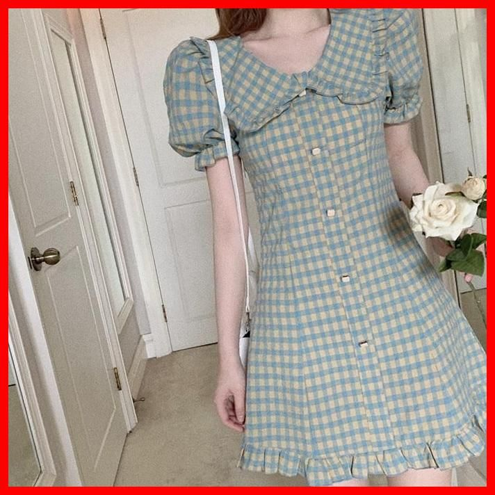 Photo of Sela Vintage-Style Plaid Peter Pan Collar Mini Dress