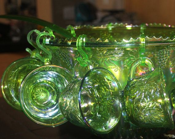 70s Depression Green Irredescent Glass Punch by JujubefunnyFinds, $100.00