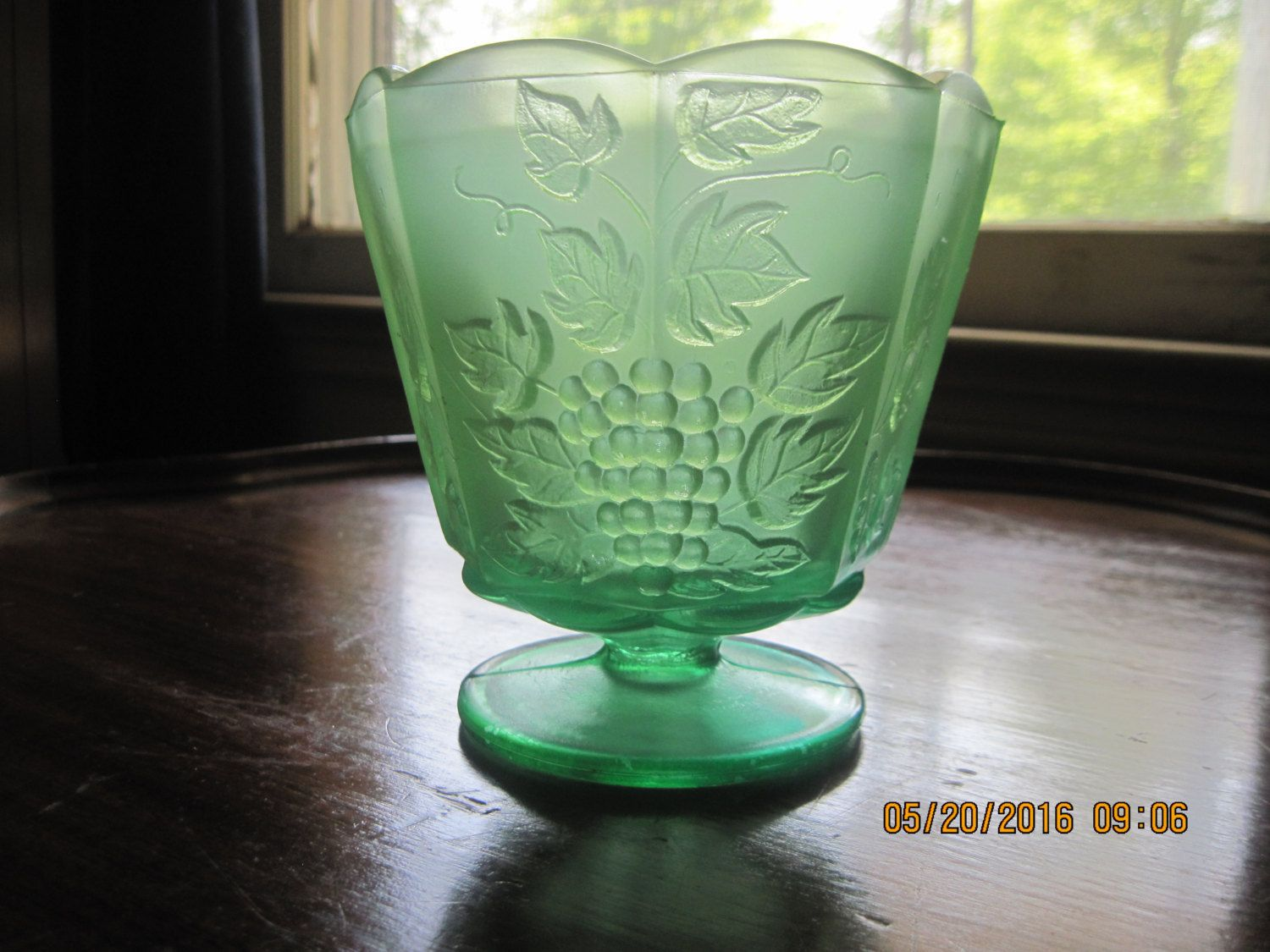 vintage light green pressed glass eight-sided footed vase and scalloped rim with ornate grape vines by craftycreationsbycw on Etsy