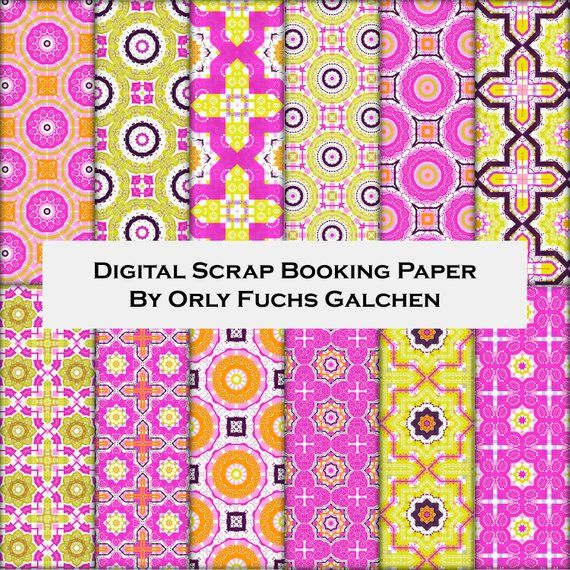 graphic about Decorative Paper Printable named Electronic Printable Paper Sheets inside Fuchsia, Inexperienced, Yellow