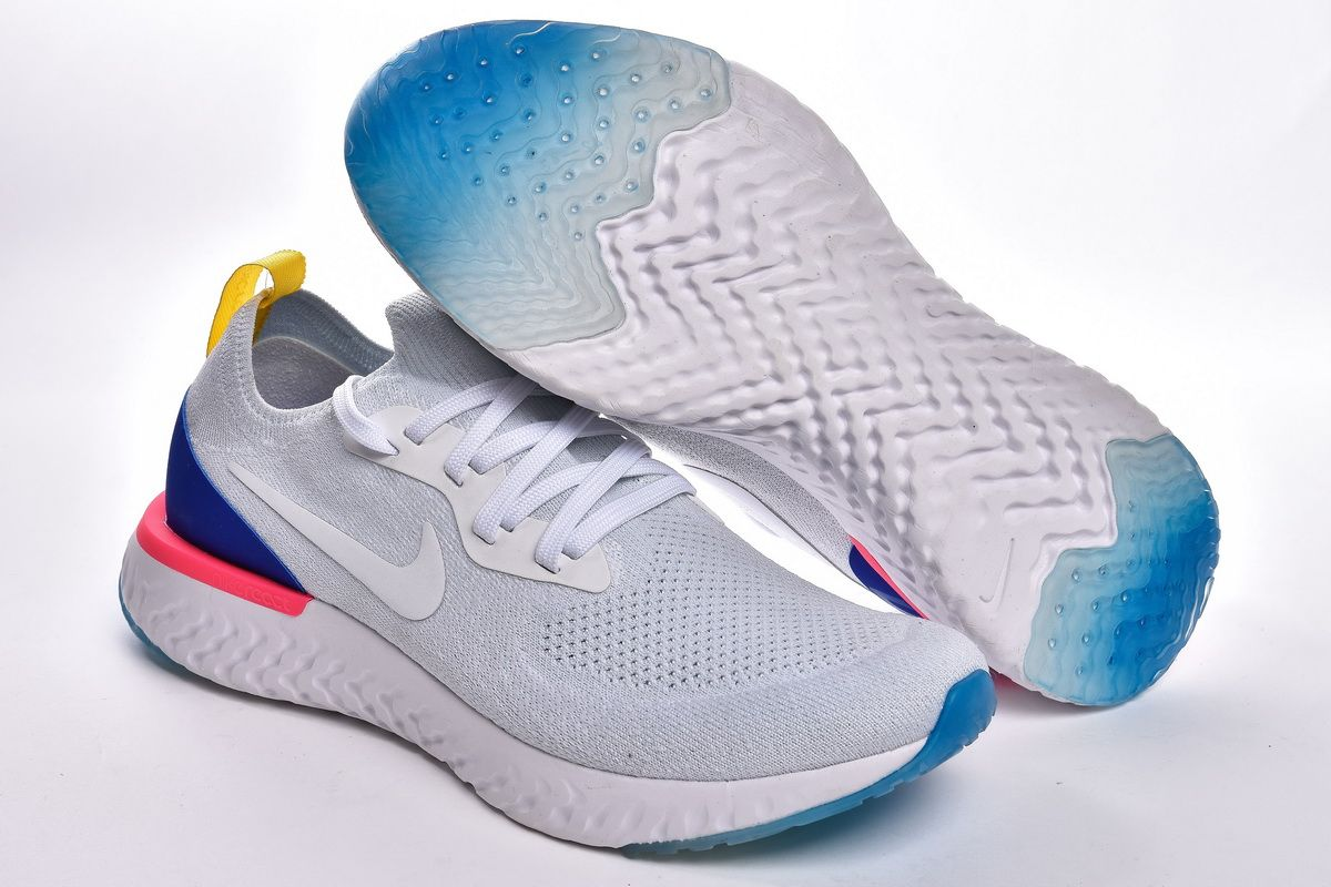 1bee85509ef1 Nike Epic React Flyknit AQ0067-101 White Royal Blue Shoes for Sale The shoe  has