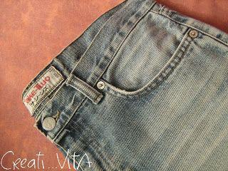 CreatiVITA...vita creativa: [CUCITO] Da un vecchio jeans risorge una nuova gon...