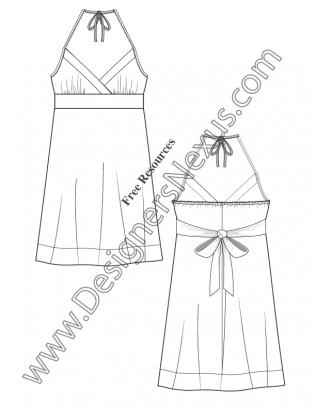 V59 Surplice Halter Dress Illustrator Flat Fashion Sketch Template ...