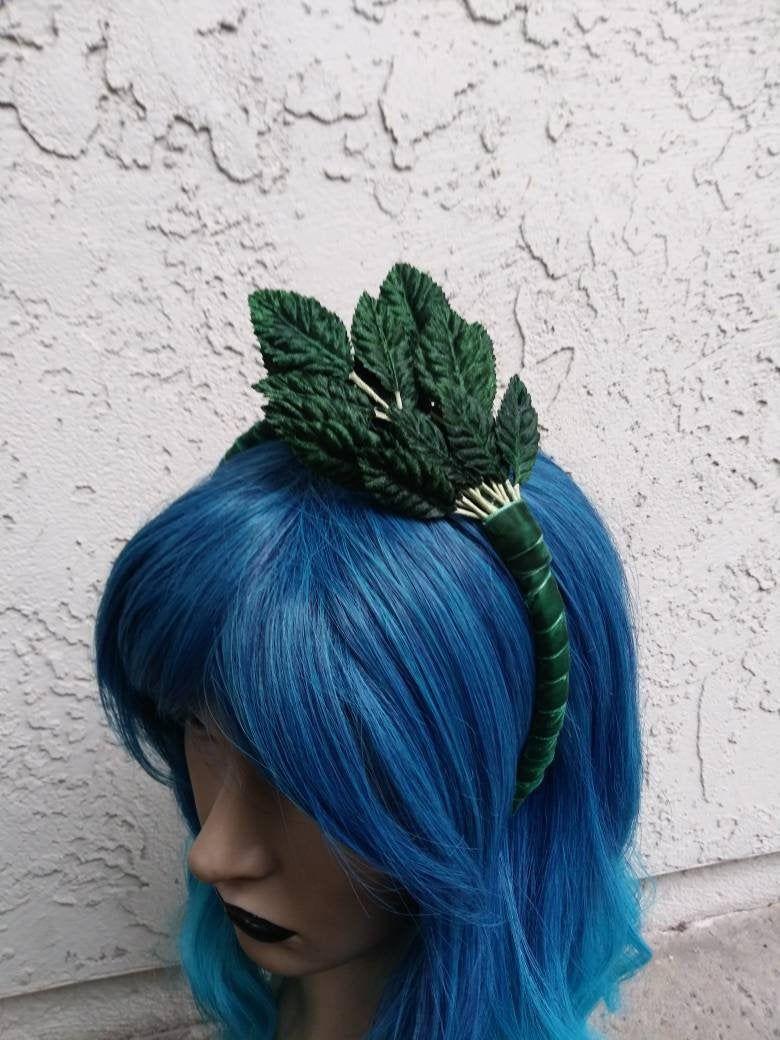 Green Velvet Leaf Headband, Fascinator Style Headband, Leaf Headband