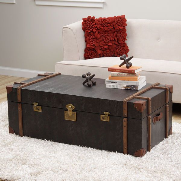 Unique Black Croc Emboss Leather Finish Storage Trunk Style Coffee Table Leather Trunks And