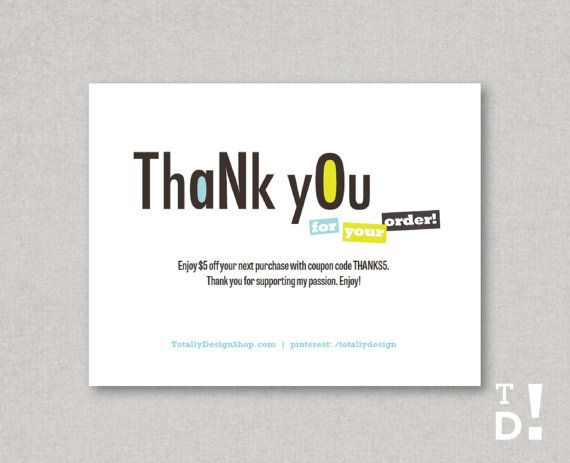 Thank You for Your Order cards INSTANT DOWNLOAD by totallydesign - business thank you card template