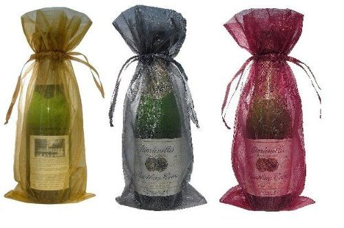 10 x Sheer Organza Wine Bottle Gift Bags for Present Weddings Party Wine