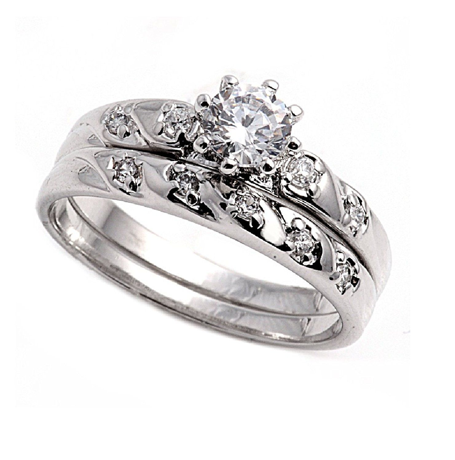 Set of 2 Round Center Cubic Zirconia Ring Sterling Silver