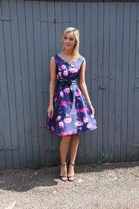 Navy Pink Floral Print Skater Dress With Bow Belt