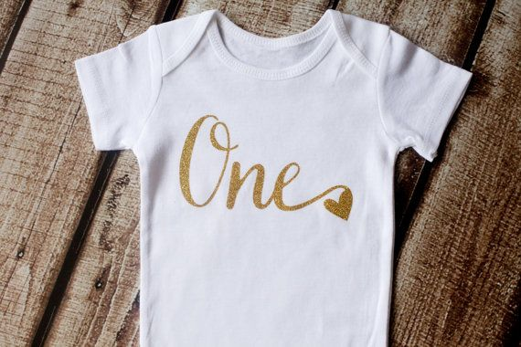 First Birthday Onesie First Birthday Shirt Gold Glitter