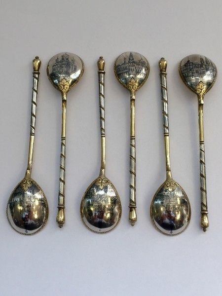 SET OF 6 RUSSIAN SILVER GILT & NIELLO SPOONS MOSCOW 1889 www